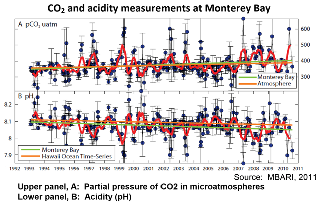 CO2 and acidity measurements at Monterey Bay, 1993-2010. Monterey Bay is perhaps the only place on the West Coast where two carbon parameters have been sampled regularly since 1993. These data support the hypothesis that acidification is occurring along the West Coast. Levels of pCO2 at the sea surface (upper panel of graph, measured in microatmospheres or µatm) have increased, while exhibiting considerable variability. The increase in seawater pCO2 has been slightly higher than the increase in atmospheric pCO2. During the same time period, pH has decreased (bottom panel of graph). Graphic: CalEPA / OEHHA