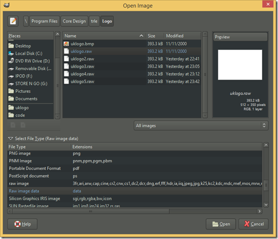 Open Image dialog screenshot