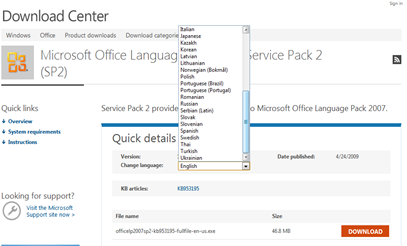 download lanaguge pack ใน office