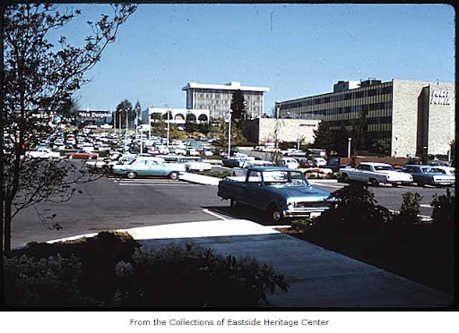 106th Avenue NE and NE 6th Street looking east, Bellevue, ca. 1969. Eastside Heritage Center Image 1998.25.59, used by permission. http://content.lib.washington.edu/u?/imlseastside,585