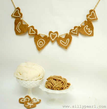 Felted Heart Garland by The Silly Pearl