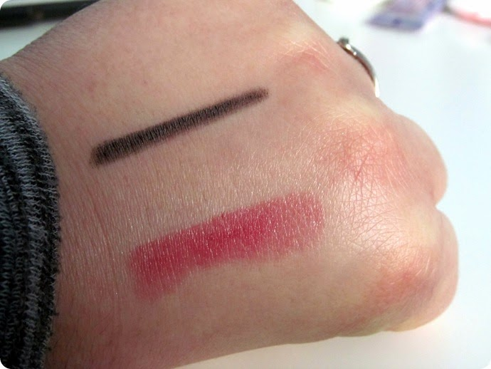 ELF Waterproof Eyeliner Crayon and Moisturizing Lipstick Swatches