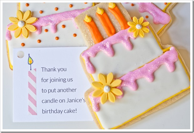decorated birthday cake cookie party favors