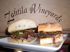 Tri tip, caramelized onions, and green salsa on pugliese bread-now that's a tasty sandwich