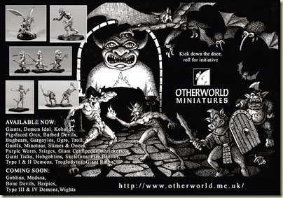 Anúncio Otherwolrd Miniatures, Revista Fight On 4, pg 5