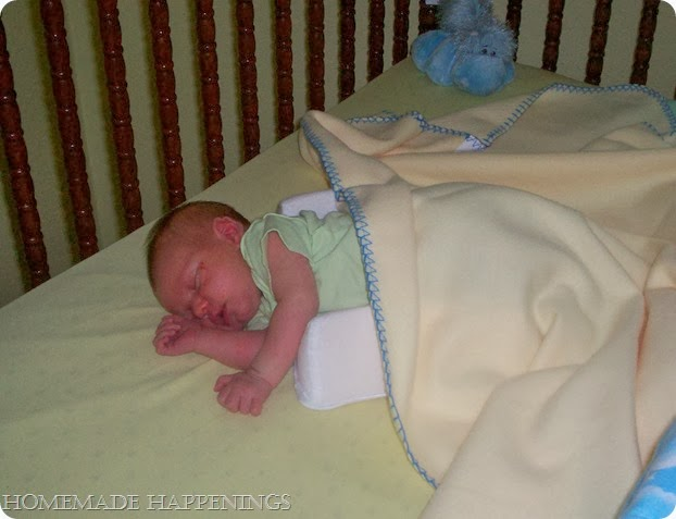 Aiden- 10 days old, first time in BIG crib!!!