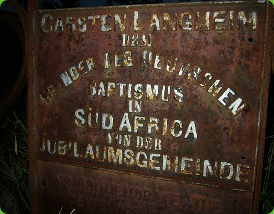 Carsten Langhein, Grave Plaque, Frankfort Eastern Cape 3