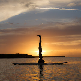 Paddleboard Headstand by Troy Wheatley - Sports & Fitness Other Sports ( water, sunset, paddleboard, sup, yoga )