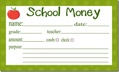school money insert