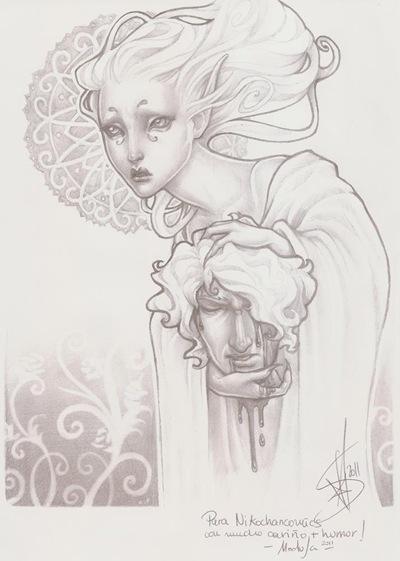 Gran dibujo por Medusa Dollmaker dedicado a Nikochan Comics