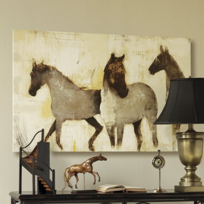 I love the unfinished look of this horse print. (ballarddesigns.com)