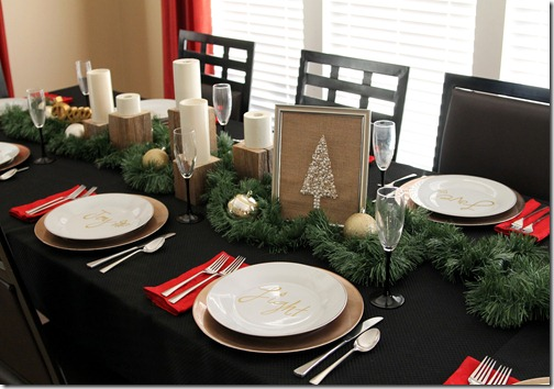 I borrowed my candle stands and candles from my mantle and laid out basic garland along the length of the table. A few glittered and shiny gold ornaments ... & Simple Holiday Table Decor - ONE little MOMMA