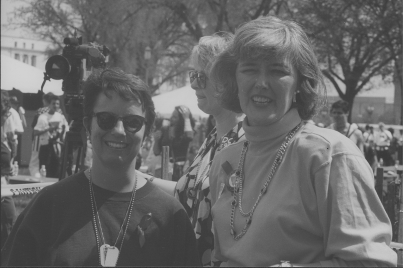 Lee Werbel and U.S. Representative Patricia Schroeder at the March on Washington. 1993.