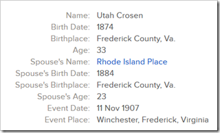 Utah Crosen married Rhode Island Place