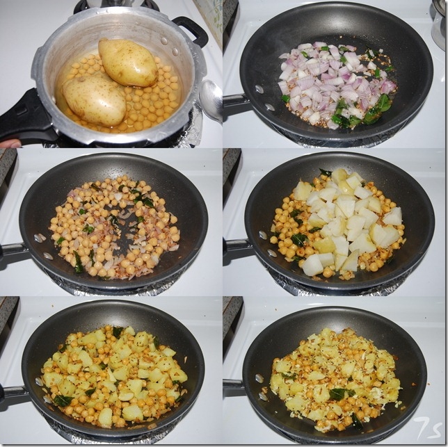 Chickpea potato stir fry process