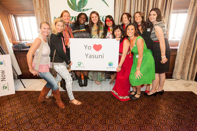 We love Yasuní! Krishandra Struble, Natalie van Zelm, Caroline Bennett, Onyi Chukuanu, Maíra Iraguay, Mayalú Txucarramãe, Atossa Soltani, Stephanie Willett, Leila Salazar-Lopez, Sarah Freeman and Sarah Weaver. September 25, 2013; San Francisco, CA, USA; Photo by Eric Slomanson / slomophotos.com