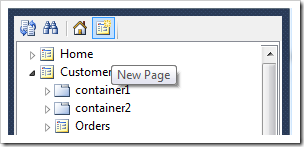Creating a new page in Project Designer of Code On Time web application generator