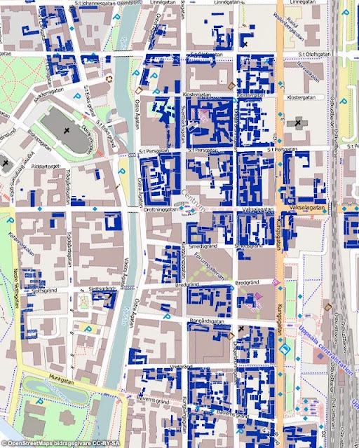 karta över rivna hus i Uppsala åren 1958-1978