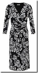 Monochrome Rose Floral Wrap Dress