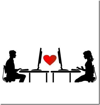 Two people communicate through the Internet. A vector illustration