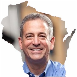 Russ Feingold photo with map of Wisconsin border