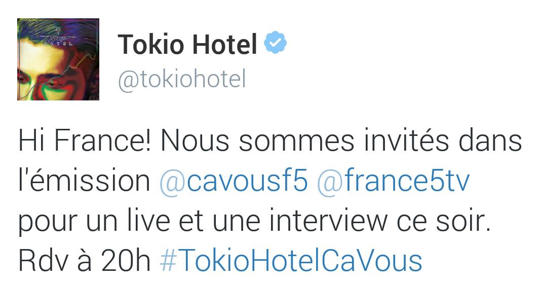 Tokio hotel fb twitter hi france ce for Trouver un hotel ce soir