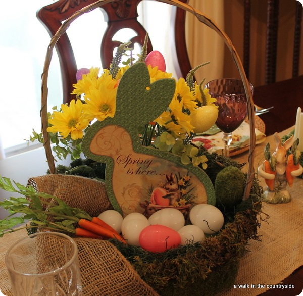 Moss Basket for Easter Table 2013