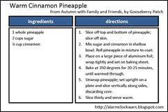 cinnamon pineapple recipe card