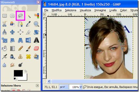 GIMP Strumento di selezione a mano libera
