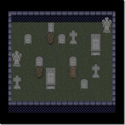 Cimitero realizzato in pixelart