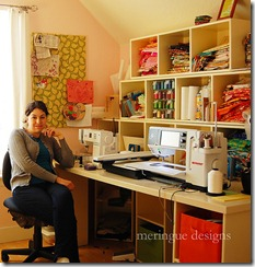 cynthia in sewing room