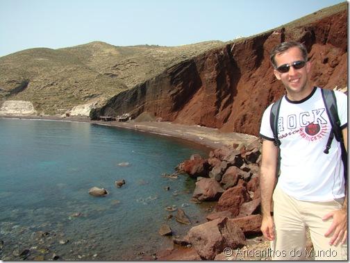 Red Beach Vista da chegada da praia Santorini Grécia