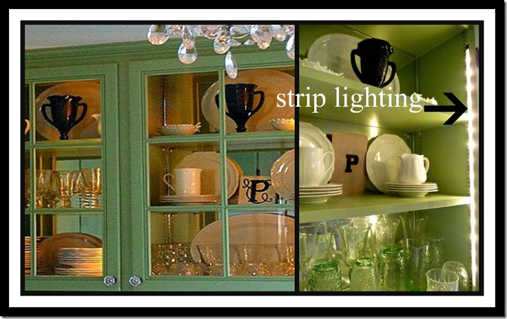 Ribbet collage lighting in cupboards