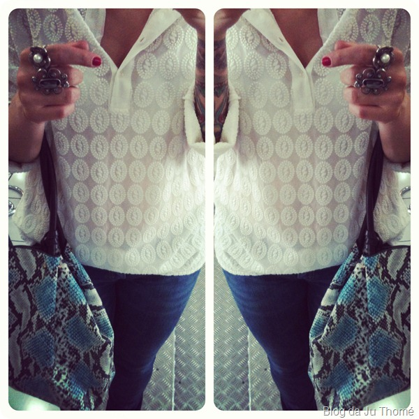 look básico detalhes camisa branca e jeans