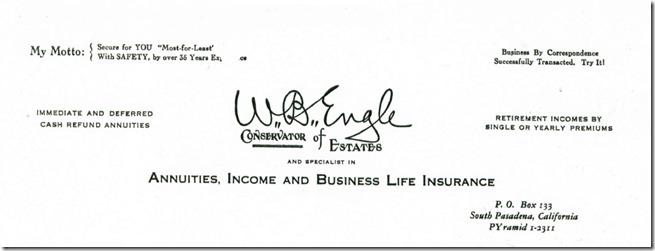 William Barker Engle Letterhead