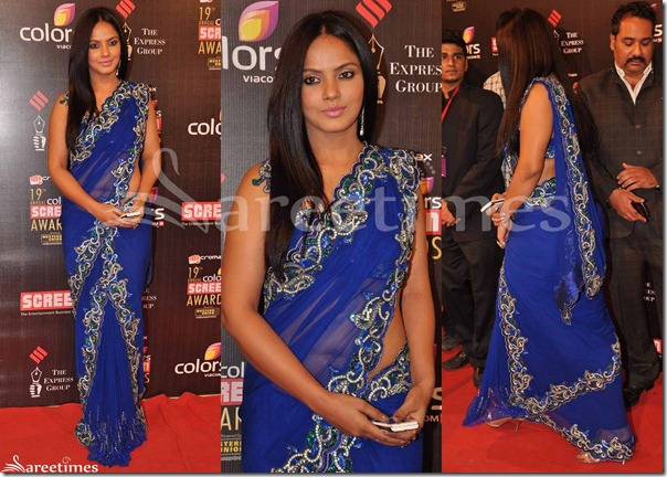 Neetu_Chandra_Blue_Saree