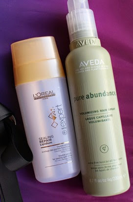 L'Oreal-Expert-Sealing-Repair-Lipidium,Aveda-Pure-Abundance-Volumizing-Hair-Spray