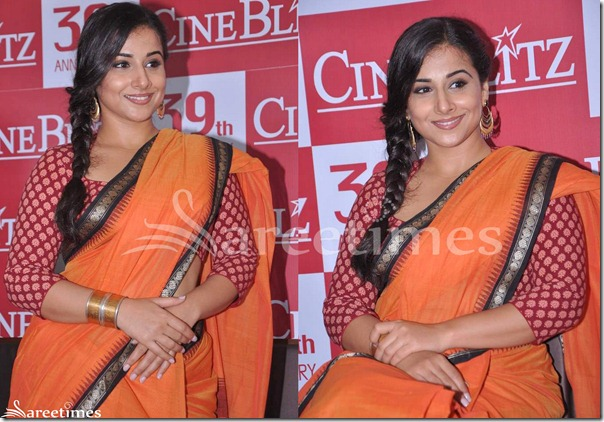 Vidya_Balan_Red_Saree_Blouse