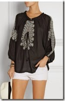 Melissa Odabash Black Embroidered Voile Blouse