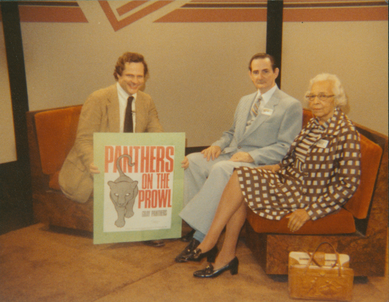 Edgar Sandifer and Nellie Bass representing the Gray Panthers in an interview. February 1982.