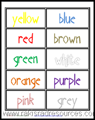 Classroom Freebies: Color Word Cards