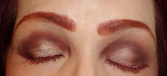 wearing Marsala Metalshine Liquid Liner and Marsala Mascara