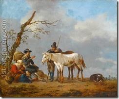 A-Family-And-A-Traveller-Conversing-Near-A-Tree,-Together-With-Their-Horses-And-A-Dog-In-A-Landscape
