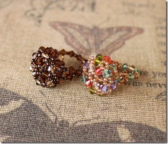 Swarovski bicone beaded bubble dome right angle weave ring