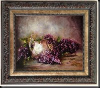 White Jug and Lilacs. 11x14.jpg Framed