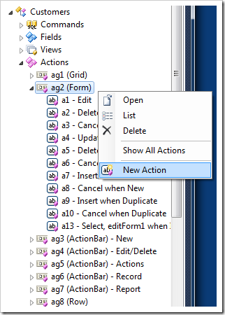 Action group with 'Form' scope presented in Project Explorer