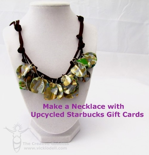 cheap craft diy upcycled gift card necklace jewelry