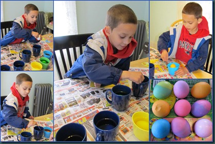 egg coloring collage
