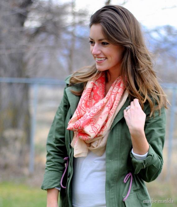 Add a little pop of color and texture to a neutral outfit with a fun scarf!
