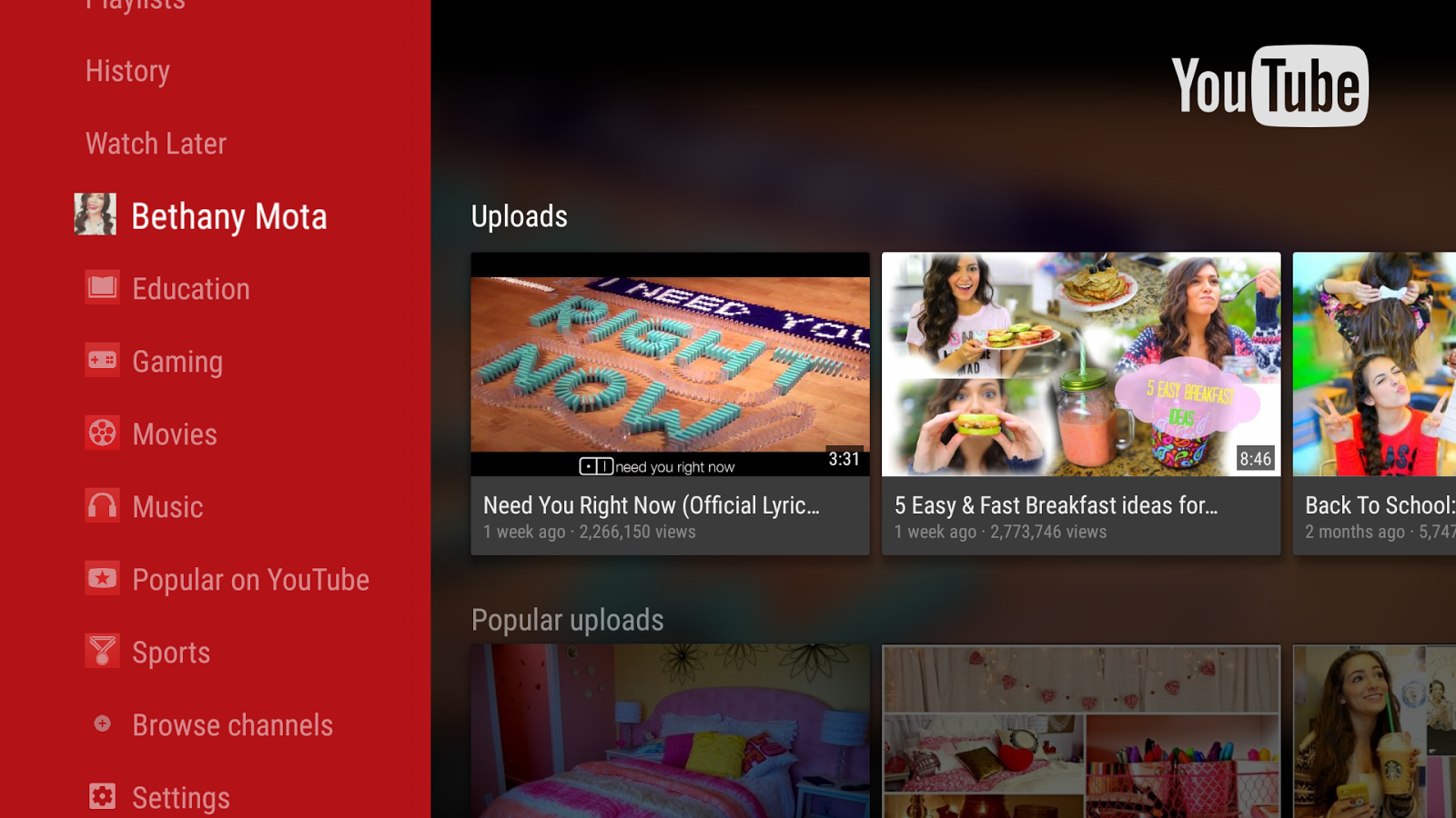 YouTube for Android TV Screenshot 0